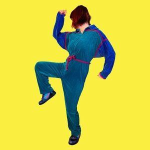 The Viciously Velour 1980s Colorblock Jumpsuit